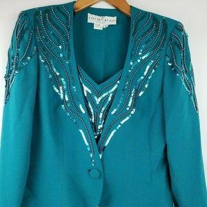 Lillie Rubin Vintage Evening Skirt Suit & Earrings